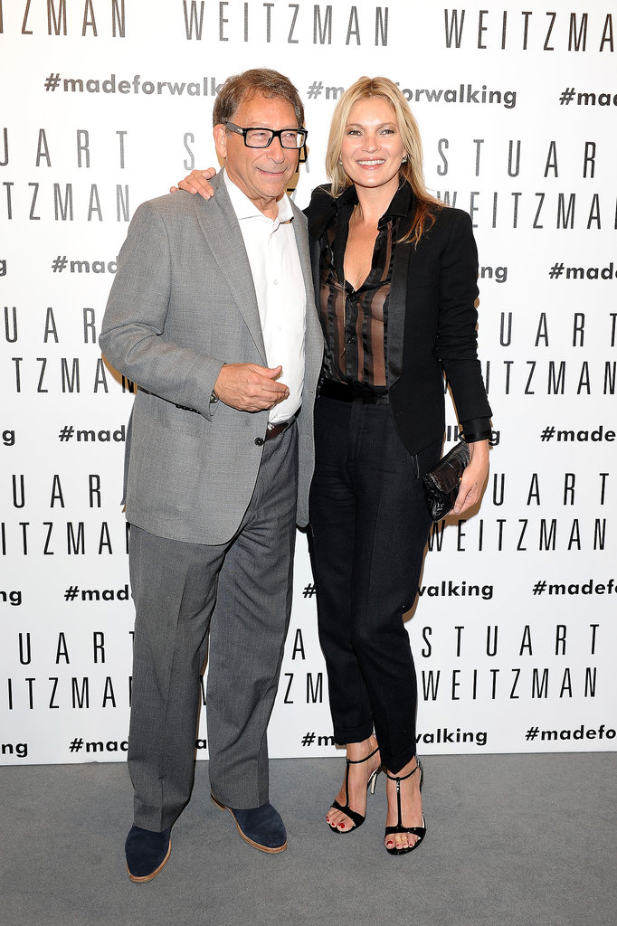 Kate Moss posed with Stuart Weitzman at the opening of his Milan flagship store.