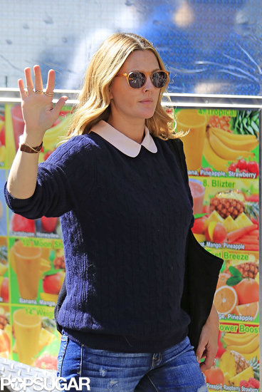 Drew Barrymore gave a wave after visiting Jimmy Fallon on his birthday!