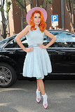 Paloma Faith looked colorful on Friday at the Emporio Armani show.