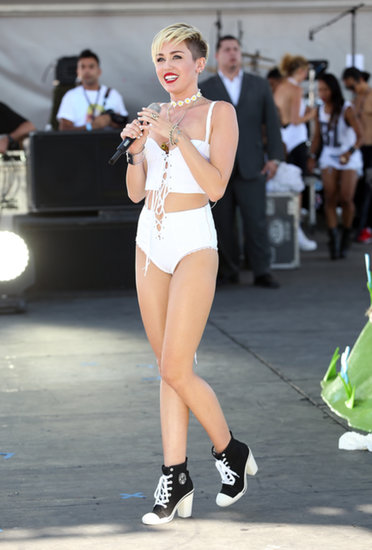 Miley Cyrus took to the stage in a tiny white ensemble.