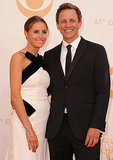 Seth Meyers and his wife, Alexi Ashe, stayed close on the Emmys red carpet.