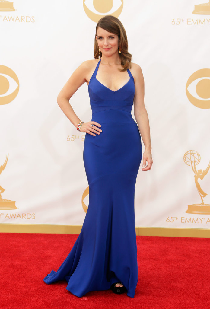 Bold blue worked for Tina Fey, who picked a halter Narciso Rodriguez dress and Fred Leighton extras.