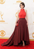 Michelle Rockery went red for the Emmy Awards red carpet.