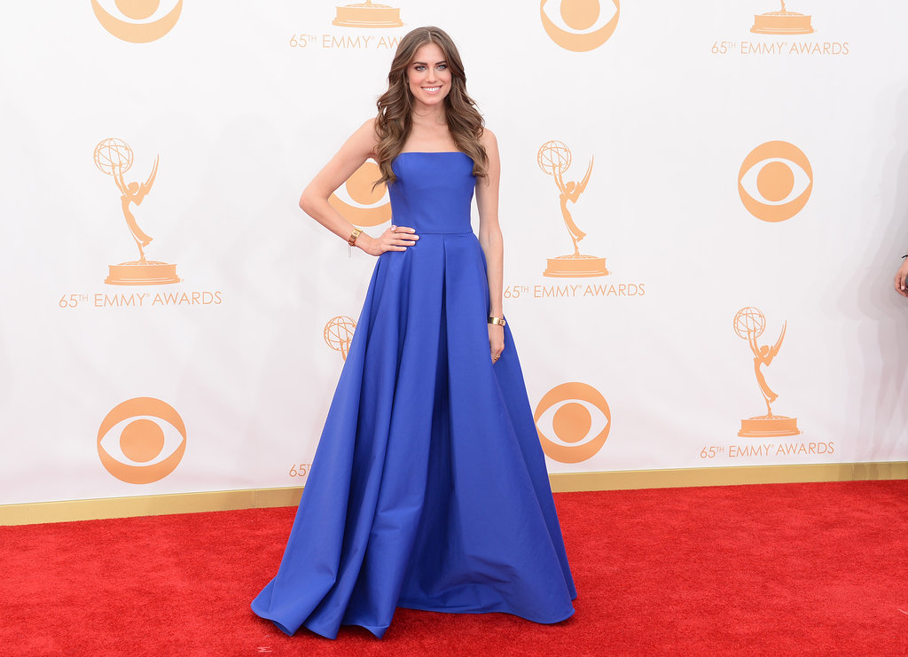 Girls actress Allison Williams donned a blue dress for the Emmys.