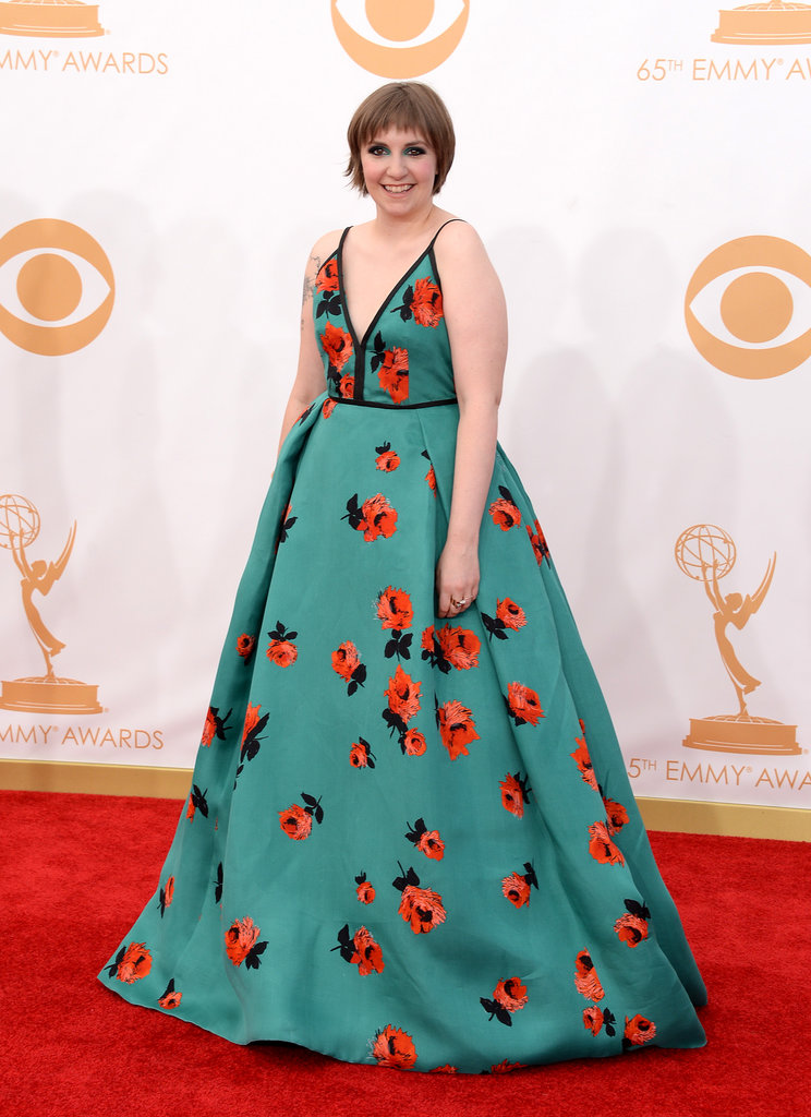 Lena Dunham walked the Emmys red carpet in a floral Prada dress.