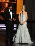 Malin Akerman presented an award with LL Cool J.