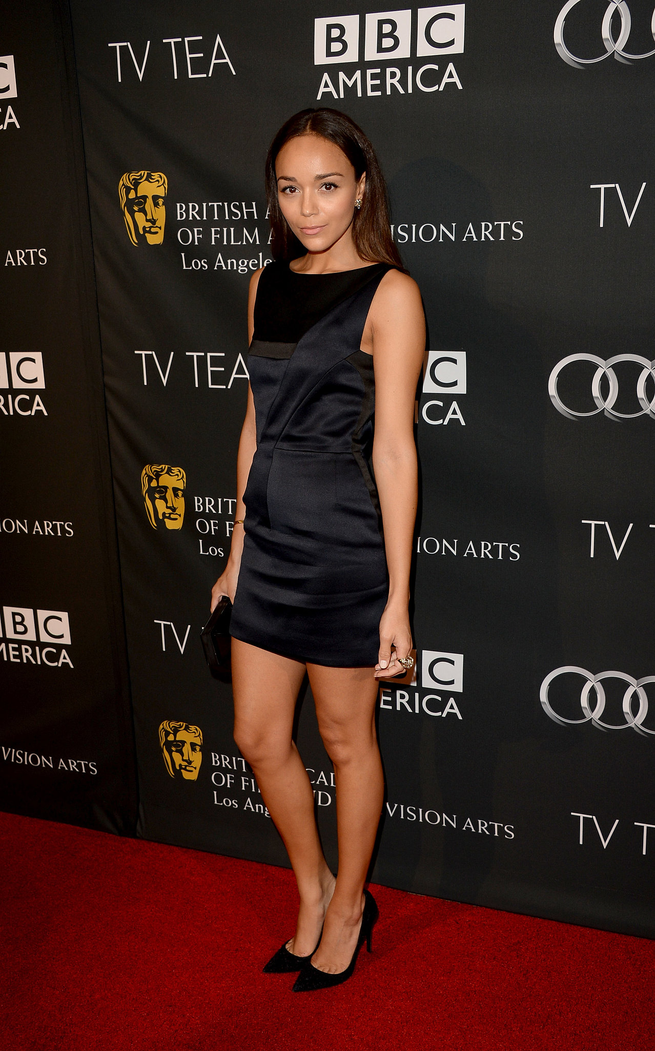 Ashley Madekwe kept it classic in a little black dress and pointy pumps at the BAFTA LA TV Tea Party.