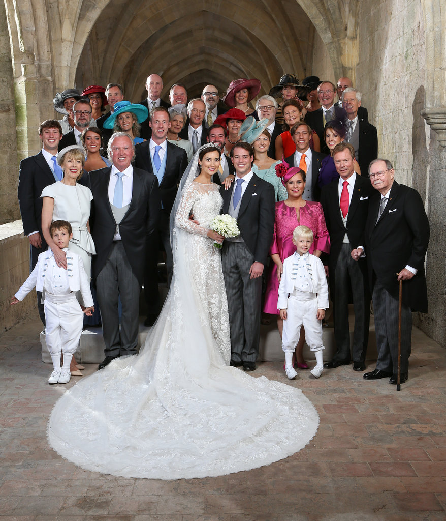 The royal family posed for a portrait following the wedding ceremony.