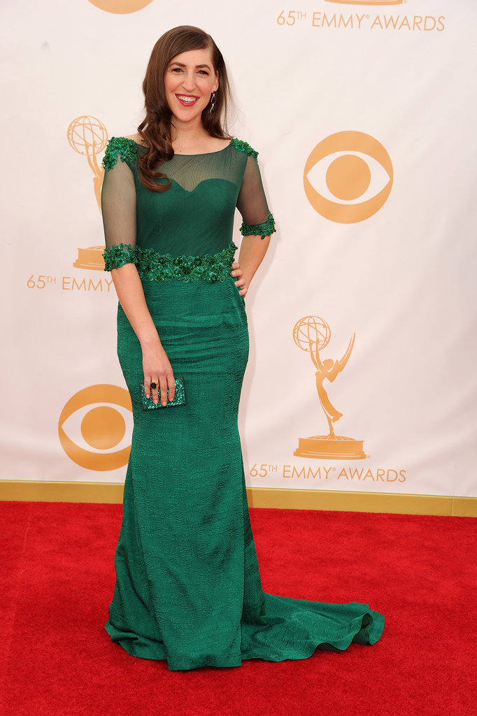 Mayim Bialik on the red carpet at the 2013 Emmy Awards.