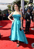 Jessica Paré on the red carpet at the 2013 Emmy Awards.
