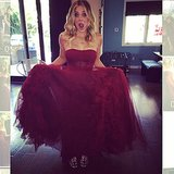"Kaley Cuoco showed off her ""heavenly"" Vera Wang gown before heading to the event. Source: Instagram user normancook"