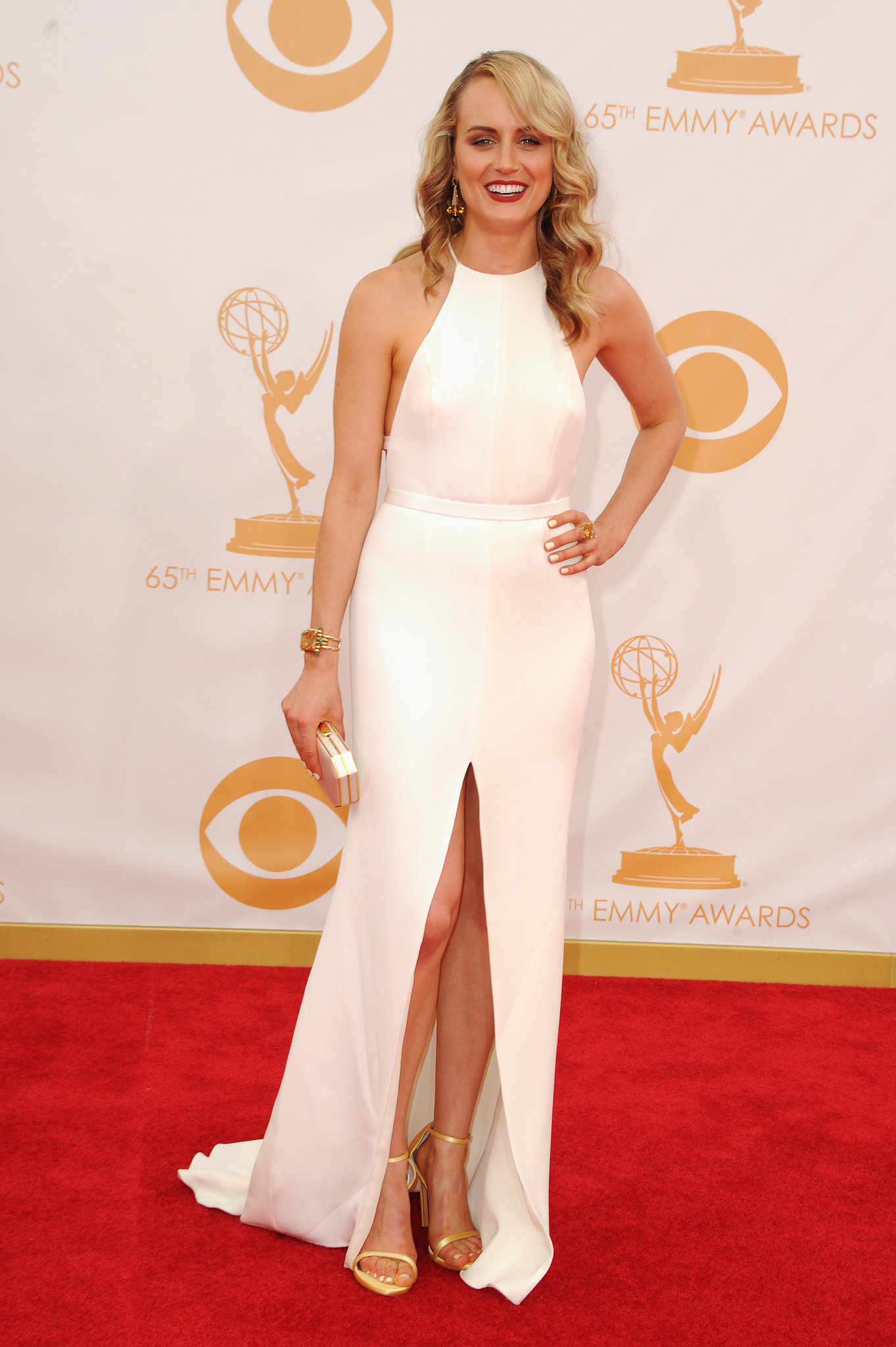 Netflix darling Taylor Schilling came to her first Emmys in style with a custom-made Thakoon dress. Finishing off the look were a pair o