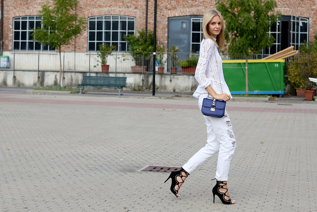 Her separates feel cool and breezy — but her footwear is fierce.