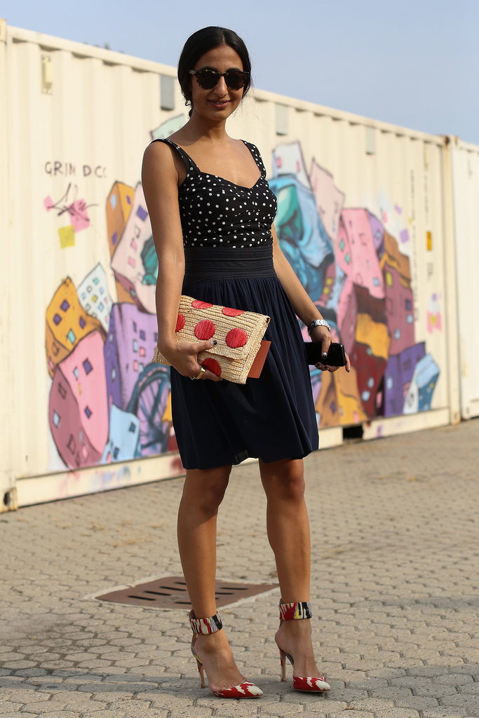 A flirtier look, thanks to printed pumps and a dotted clutch.