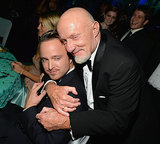 Aaron Paul got a hug from Jonathan Banks at the 2013 Emmys Governors Ball.