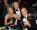 Anna Gunn posed alongside her handsome Breaking Bad costars  Aaron Paul and Bryan Cranston at the 2013 Emmys Governors Ball.