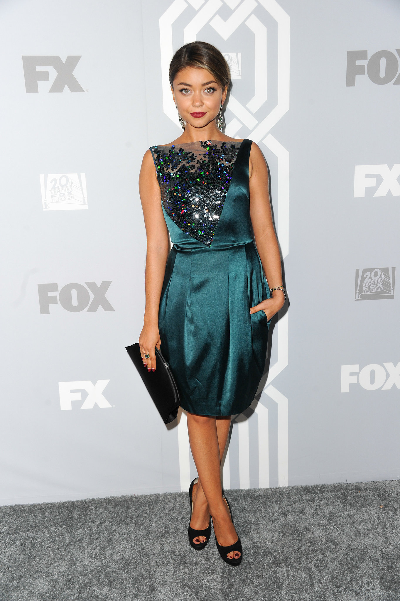 Sarah Hyland stepped out for Fox's afterparty in an embelli
