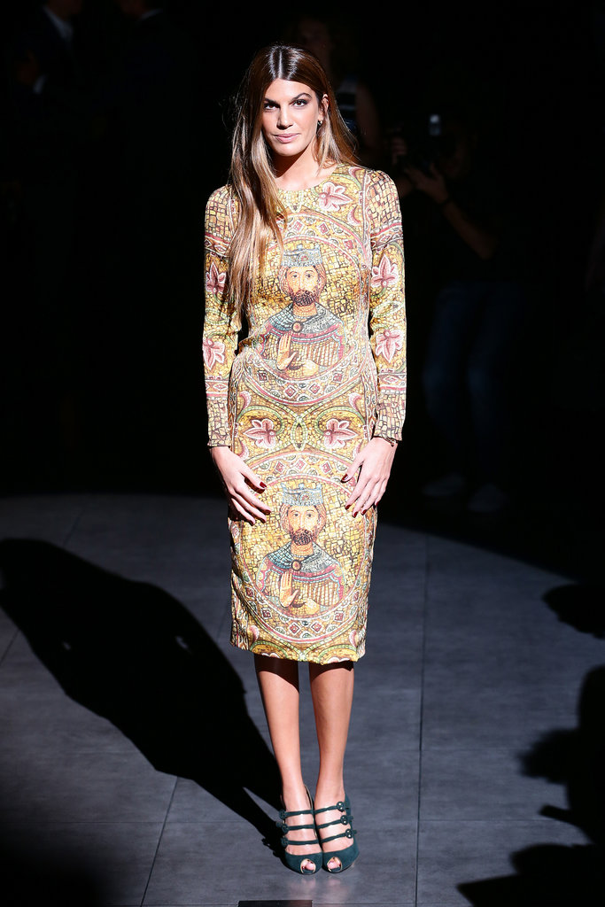 Bianca Brandolini D'Adda modeled Dolce & Gabbana's design while sitting front row at the label's Milan Fashion Week show.