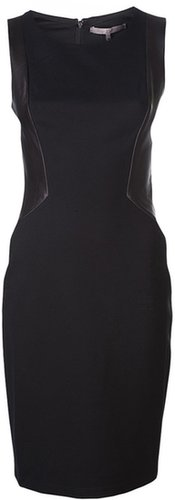 Halston Heritage leather panel dress