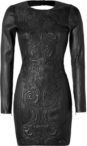 Roberto Cavalli Leather Dress in Black