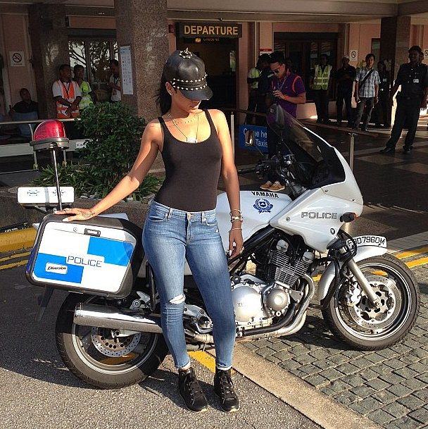 Rihanna looked ready to ride the streets in some seriously fierce headgear. Source: Instagram user badgalriri