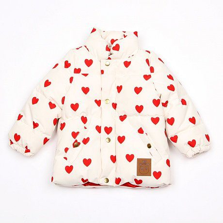 Mini Rodini's light and bright Heart Jacket ($121) is also available in a baby overall version.