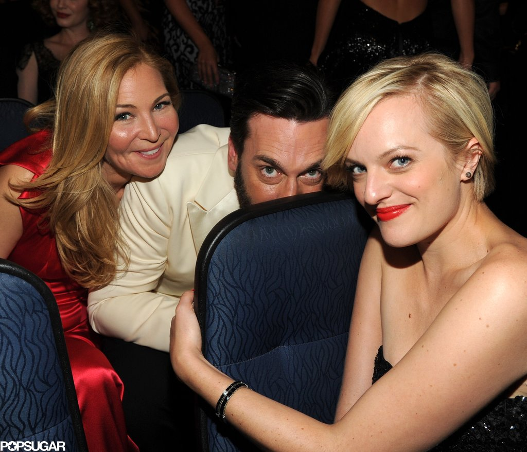 Jon Hamm, Jennifer Westfeldt, and Elisabeth Moss played around in the audience.