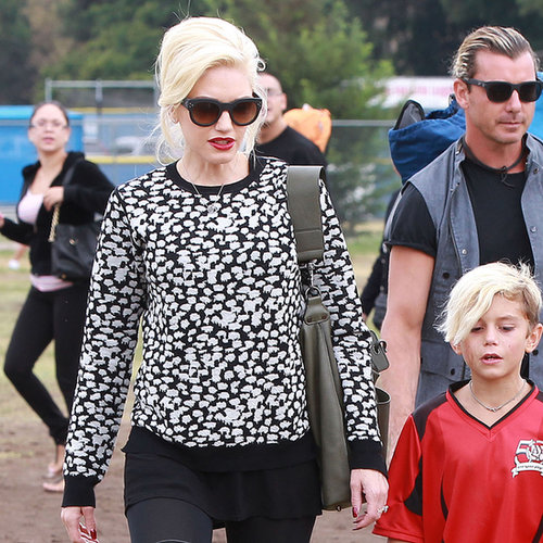 Gwen Stefani Wearing Animal-Print Sweater