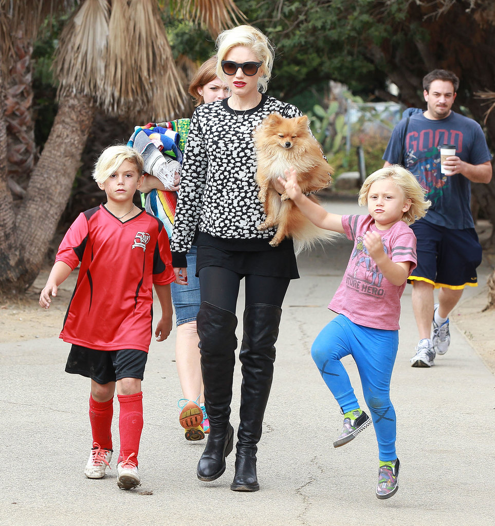 Gwen Stefani walked with her sons.