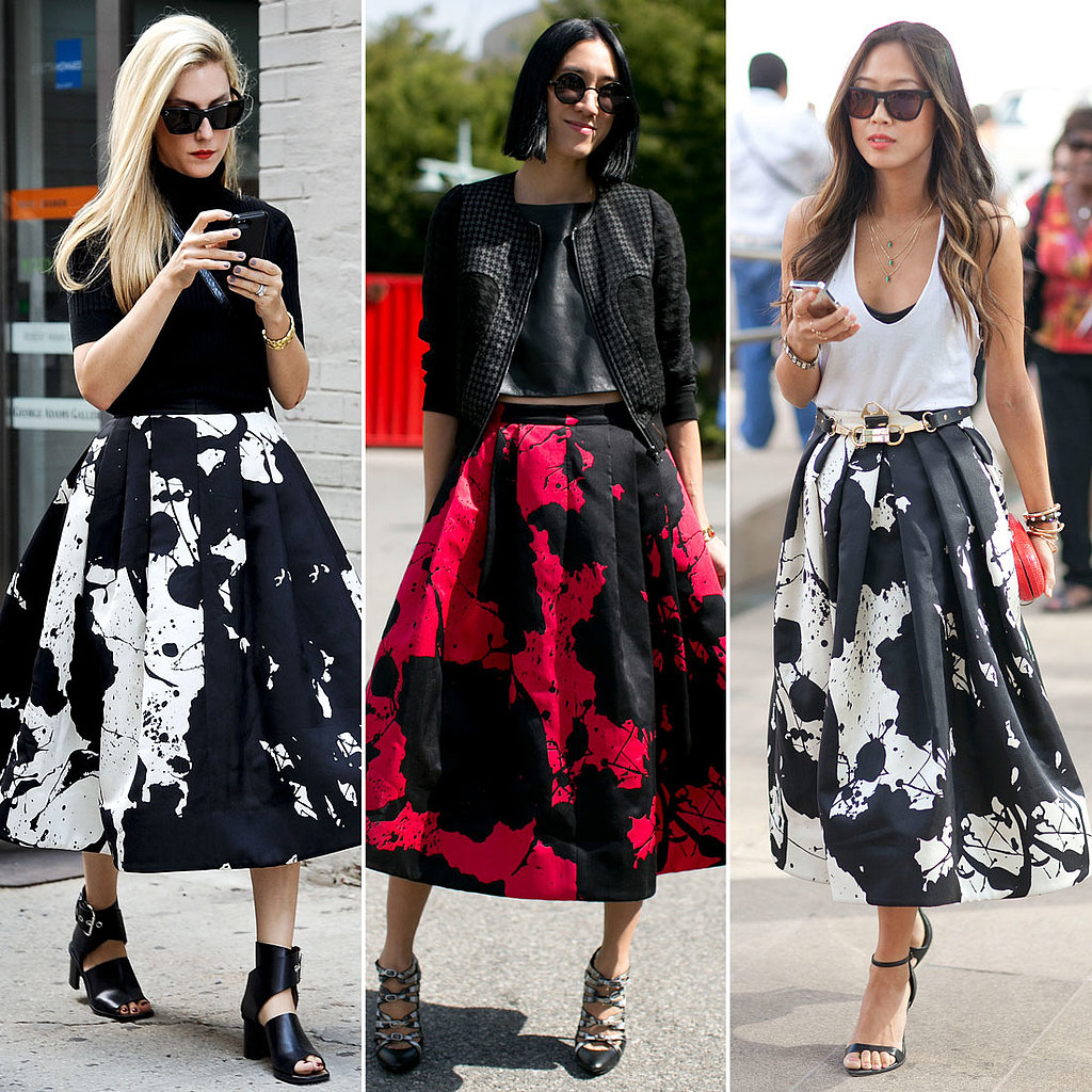 Joanna Hillman, Eva Chen, and Aimee Song were all apparently fans of the paint-splattered Tibi Resort '14 skirt.