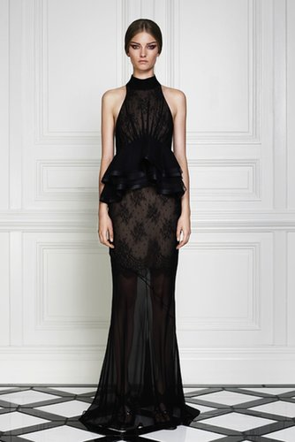 Black Lace Maxi Halter Dress with Ruffle Skirt