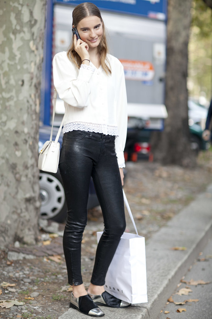 Mix up your leather pants with your prettiest tops.