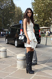Over-the-knee boots were a not-so-understated finish to this little white look.