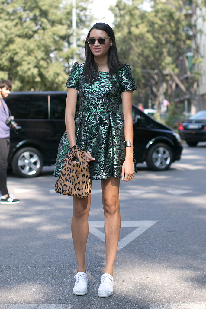 A printed party dress teamed up with basic sneakers.