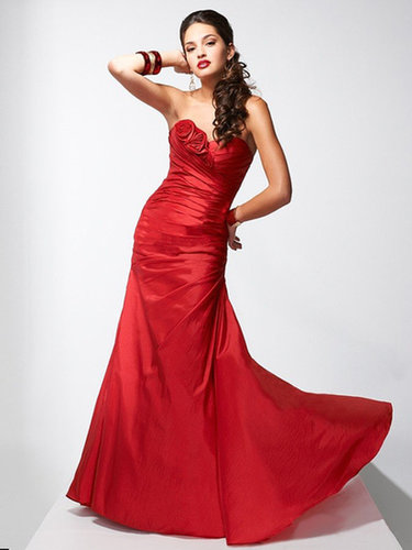 Trumpet/Mermaid Sweetheart Taffeta Floor-length Sleeveless Flower(s) Formal Dresses at dressestylish