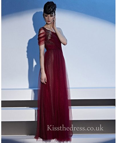 Wine Red Tulle One Shoulder Empire Long Prom Dress With Bead CYH81152