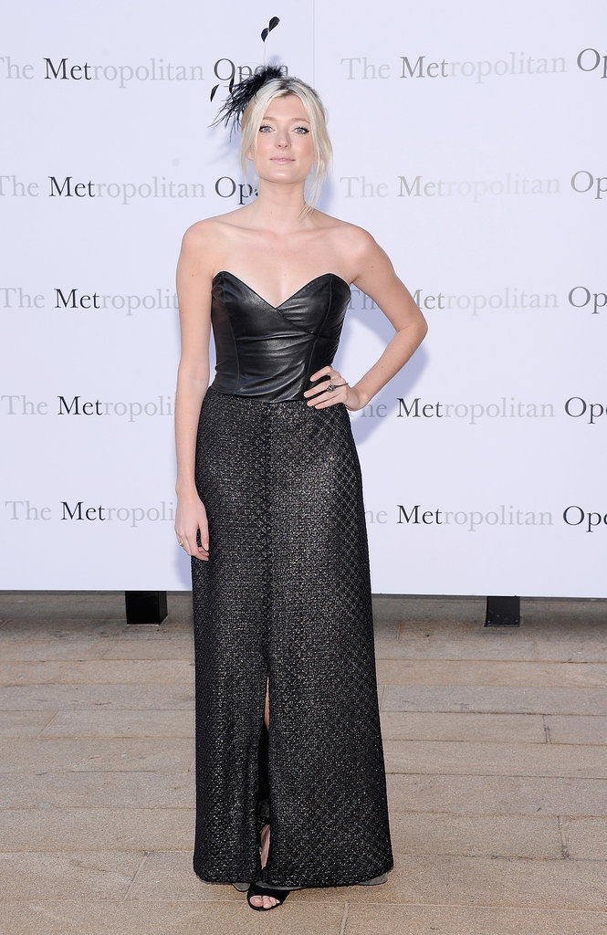 Leather made its way to the opera when Sophie Sumner wore an edgy strapless gown.