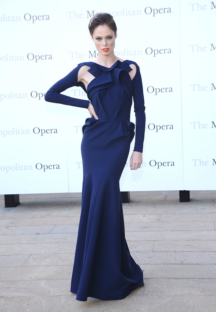 Coco Rocha created curves with a structured Greta Constantine gown.