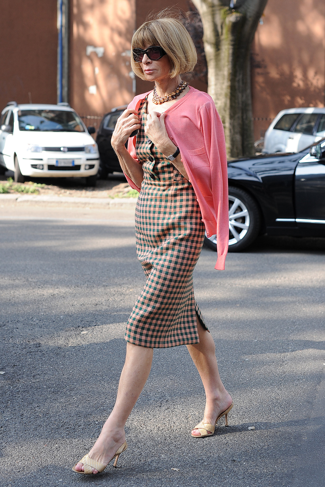 Another Day Another Slim Plaid Dress From Anna Wintour Street Style The Fashion Editor Edit