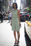 Wild thing! Eva Chen showed a hint of print in her cool mint Proenza Schouler dress.