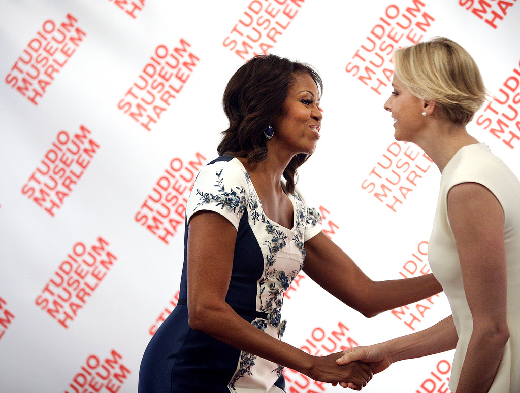 First Lady Michelle Obama greeted Princess Charlene of Monaco.