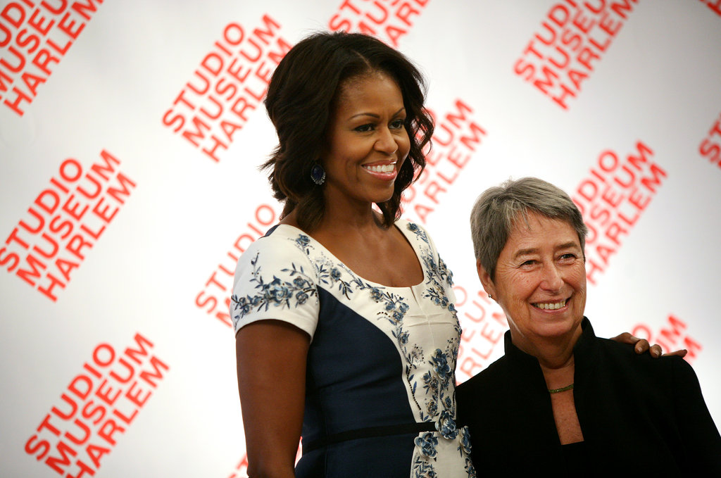 Michelle and Austria's first lady, Margit Fischer, were all smiles.
