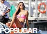 Alessandra Ambrosio posed for pictures on a boat in France.