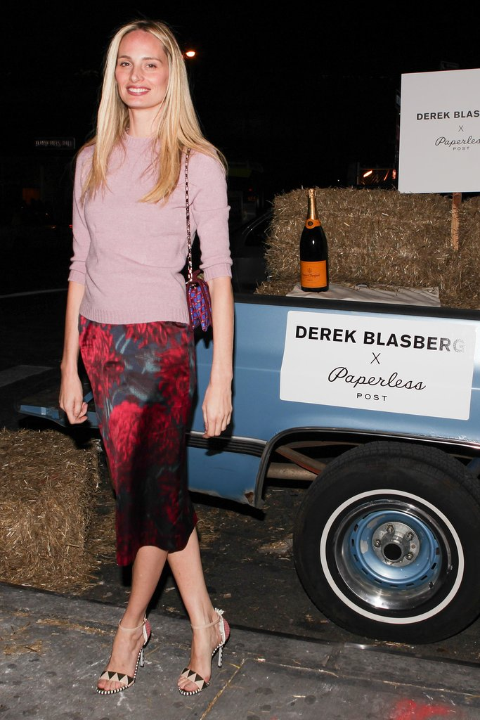 Lauren Santo Domingo set off her pencil skirt with statement sandals at Derek Blasberg's New York party.