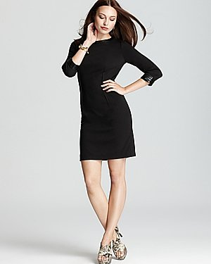 DKNYC Three Quarter Sleeve Dress with Faux Leather Trim