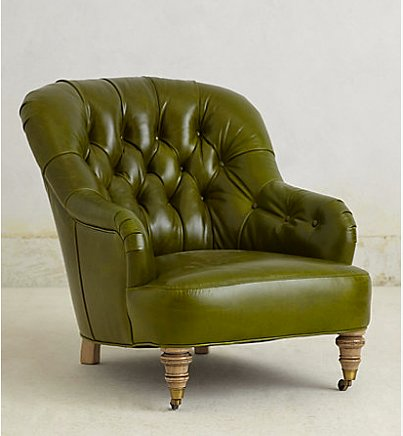 Sloped arms and a forest green hue lend a '60s soulfulness to this Bolero Corrigan Chair ($2,698).