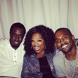 Oprah hung out with Diddy and Kanye West at a dinner for Jimmy Iovine. Source: Instagram user oprah