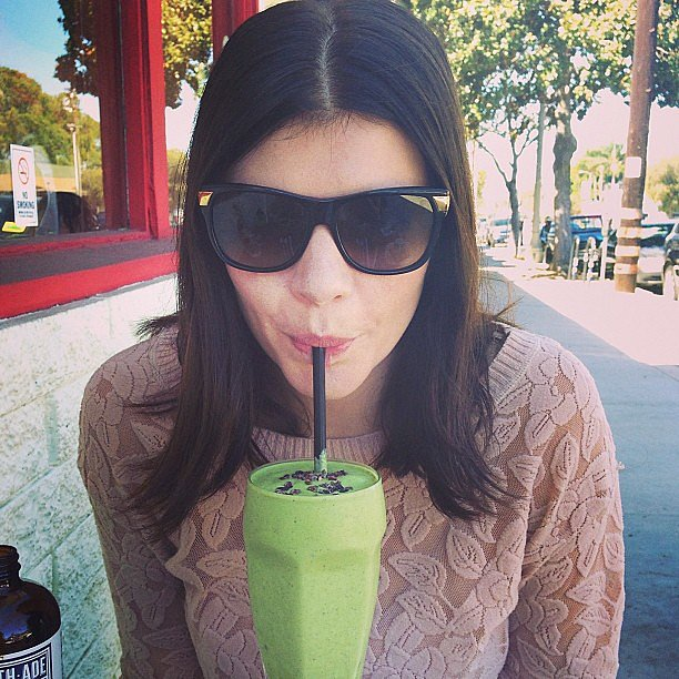 Newly engaged Happy Endings star Casey Wilson sipped on a green smoothie. Source: Instagram user whitneyacummings