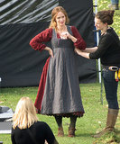 Emily Blunt spent Wednesday at a British castle as filming began on Into the Woods.