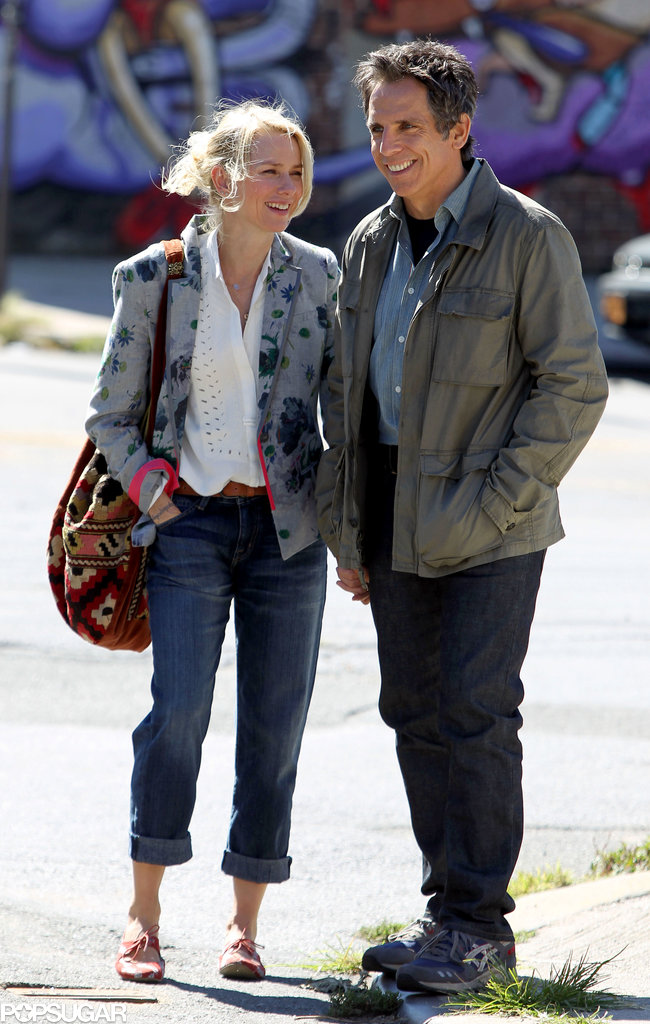 Ben Stiller and Naomi Watts shared laughs and smiles while filming While We're Young in NYC on Tuesday.